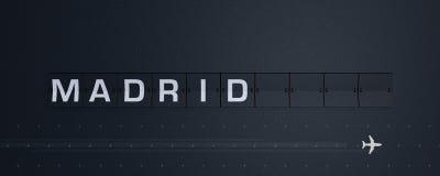 3D, das Flip Board Capital Madrid überträgt Stockbild