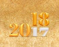 3d, das goldene Jahränderung mit 2017 Zahlen an 2018-jährigem am Gold überträgt lizenzfreie abbildung