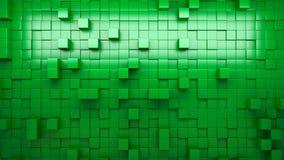 3D, das grüne verdrängte Würfel überträgt stock footage