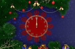 3D, das Hintergrund des neuen Jahres, des Weihnachten mit Uhr, Lametta, Bälle und Geschenke überträgt Stockbild