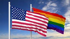 3d, das homosexuelle Flagge mit USA-Flagge überträgt Lizenzfreie Stockfotos