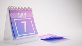 3D, das 7. Juli modischen Farbkalender auf weiß- überträgt Lizenzfreies Stockbild