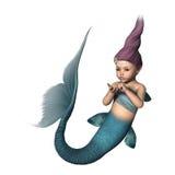 3D, das kleine Meerjungfrau auf Weiß überträgt Lizenzfreie Stockbilder