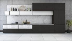 3d, das minimale und Retro- Küche im Dachbodendesign überträgt Stockbilder