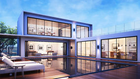 3D, das modernes Haus-Pool-Landhaus/Pool-Ansicht Daybed auf dem Bodenplattformholz mit Wohnzimmer Küche und Esszimmer überträgt Stockbilder