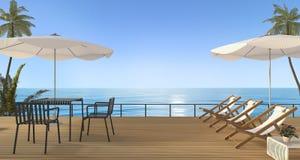 3d, das nette Strandmöbel überträgt, stellte mit Bank auf hölzerner Terrasse nahe Meer ein Lizenzfreie Stockfotos