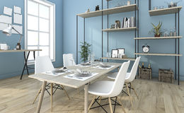 3d, das nettes blaues Esszimmer mit Regalidee überträgt Stockfotografie
