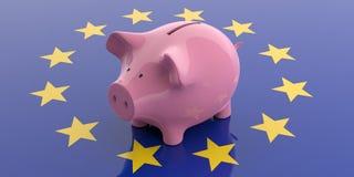 3d, das rosa Sparschwein auf EU-Flagge überträgt vektor abbildung