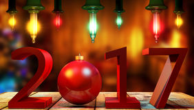 3D, das 2017 rote Stellen des neuen Jahres mit einem roten Weihnachtsball überträgt Stockbild
