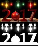 3D, das 2017 rote Stellen des neuen Jahres mit einem roten Weihnachtsball überträgt Stockfoto