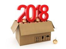 3D, das 2018 Rotstellen des neuen Jahres überträgt stock abbildung