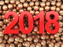 3D, das 2018 Rotstellen des neuen Jahres überträgt Lizenzfreies Stockbild
