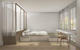 3d, das Schlafzimmer der japanischen Art mit minimaler Dekoration überträgt Lizenzfreies Stockfoto