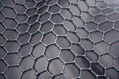 3D, das sechseckige geometrische Formnahaufnahme der abstrakten Nanotechnologie überträgt Graphenatomstrukturkonzept, Kohlenstoff vektor abbildung