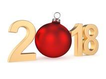 3D, das 2018 Stellen des neuen Jahres Goldüberträgt Stockbilder