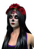 3D, das Sugar Skull Girl auf Weiß überträgt Lizenzfreies Stockbild