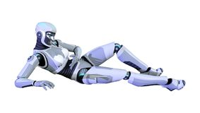 3D, das weiblichen Roboter auf Weiß überträgt Lizenzfreies Stockbild