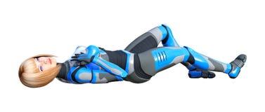 3D, das weiblichen Roboter auf Weiß überträgt stockbild