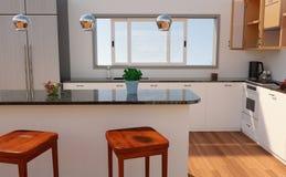 3D, das zeitgenössischen Küchen-Innenraum überträgt stock abbildung