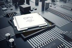 3d, das zentraler Computer-Prozessoren CPU-Konzept überträgt Elektronik-Ingenieur der Computertechnologie Computerbrettchip Stockbilder