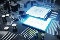 3d, das zentraler Computer-Prozessoren CPU-Konzept überträgt Elektronik-Ingenieur der Computertechnologie Computerbrettchip vektor abbildung