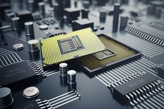 3d, das zentraler Computer-Prozessoren CPU-Konzept überträgt Elektronik-Ingenieur der Computertechnologie Computerbrettchip Lizenzfreies Stockbild