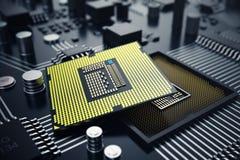3d, das zentraler Computer-Prozessoren CPU-Konzept überträgt Elektronik-Ingenieur der Computertechnologie Computerbrettchip stock abbildung