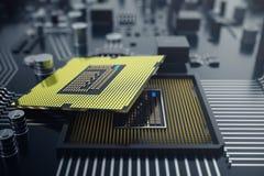 3d, das zentraler Computer-Prozessoren CPU-Konzept überträgt Elektronik-Ingenieur der Computertechnologie Computerbrettchip Lizenzfreie Stockfotos