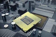 3d, das zentraler Computer-Prozessoren CPU-Konzept überträgt Elektronik-Ingenieur der Computertechnologie Computerbrettchip Lizenzfreies Stockfoto