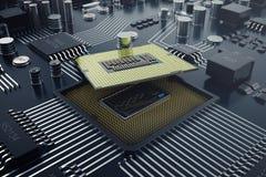 3d, das zentraler Computer-Prozessoren CPU-Konzept überträgt Elektronik-Ingenieur der Computertechnologie Computerbrettchip Stockfoto