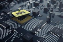 3d, das zentraler Computer-Prozessoren CPU-Konzept überträgt Elektronik-Ingenieur der Computertechnologie Computerbrettchip Lizenzfreie Stockfotografie