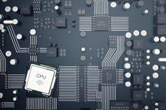 3d, das zentraler Computer-Prozessoren CPU-Konzept überträgt Elektronik-Ingenieur der Computertechnologie Computerbrettchip Stockfotografie