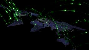 3D, das Zusammenfassung des Weltnetzes, des Internets und des globalen Verbindungskonzeptes überträgt Elemente dieses Bildes geli Stockfoto