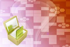 3d Data folder on modern treasure box Illustration Stock Photography