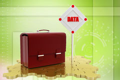 3d  data leather bag Illustration Royalty Free Stock Images