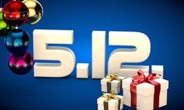 5 12 3d data prezenta pudełka choinki piłek kalendarzowa ilustracja Fotografia Stock