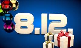 8 12 3d data prezenta pudełka choinki piłek kalendarzowa ilustracja Obraz Stock