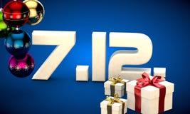 7 12 3d data prezenta pudełka choinki piłek kalendarzowa ilustracja Zdjęcie Royalty Free