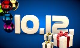10 12 3d data prezenta pudełka choinki piłek kalendarzowa ilustracja Zdjęcie Royalty Free