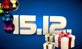 15 12 3d data prezenta pudełka choinki piłek kalendarzowa ilustracja Zdjęcia Stock
