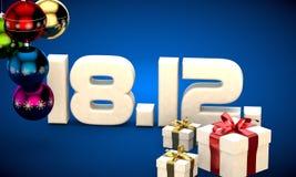18 12 3d data prezenta pudełka choinki piłek kalendarzowa ilustracja Obrazy Royalty Free