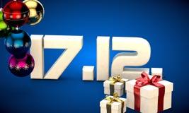 17 12 3d data prezenta pudełka choinki piłek kalendarzowa ilustracja Zdjęcie Royalty Free