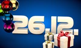 26 12 3d data prezenta pudełka choinki piłek kalendarzowa ilustracja Obraz Royalty Free