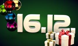 16 12 3d data prezenta pudełka choinki piłek kalendarzowa ilustracja Zdjęcia Royalty Free