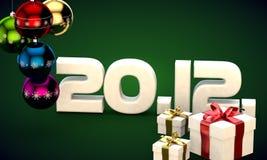 20 12 3d data prezenta pudełka choinki piłek kalendarzowa ilustracja Fotografia Royalty Free