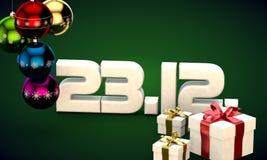 23 12 3d data prezenta pudełka choinki piłek kalendarzowa ilustracja Fotografia Royalty Free