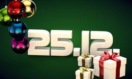 25 12 3d data prezenta pudełka choinki piłek kalendarzowa ilustracja Zdjęcia Royalty Free