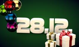 28 12 3d data prezenta pudełka choinki piłek kalendarzowa ilustracja Obraz Royalty Free
