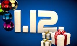 1 12 3d data prezenta pudełka choinki piłek kalendarzowej ilustracja Zdjęcie Stock