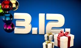 3 12 3d data prezenta pudełka choinki piłek kalendarzowej ilustracja Zdjęcie Royalty Free